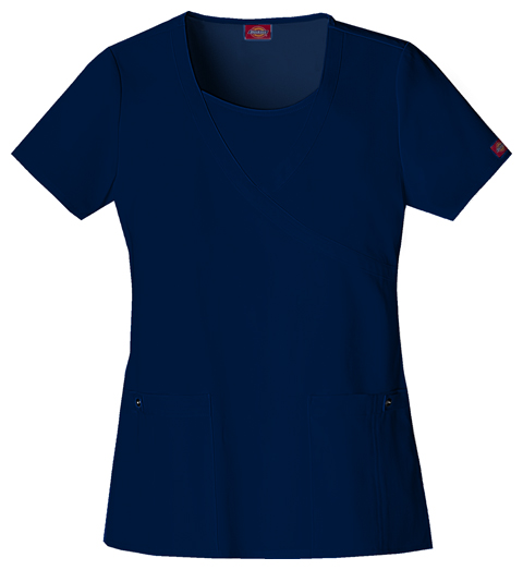 Dickies Xtreme Stretch Women's Mock Wrap Top Blue