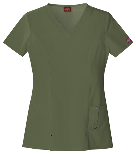 Dickies Xtreme Stretch V-Neck Top in Olive