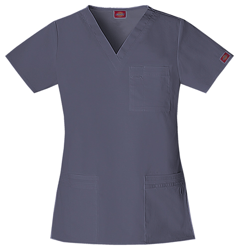 "Dickies Gen Flex Women's ""Youtility"" V-Neck Top Grey"