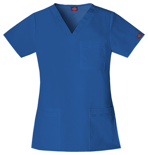 "Dickies Gen Flex Women's ""Youtility"" V-Neck Top Blue"