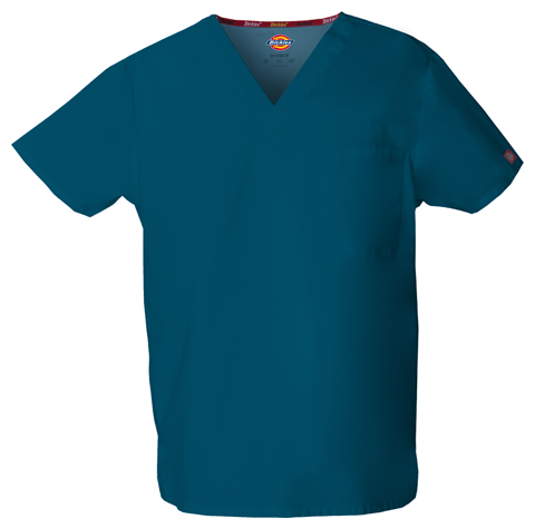 Dickies EDS Signature Unisex V-Neck Top in Caribbean Blue
