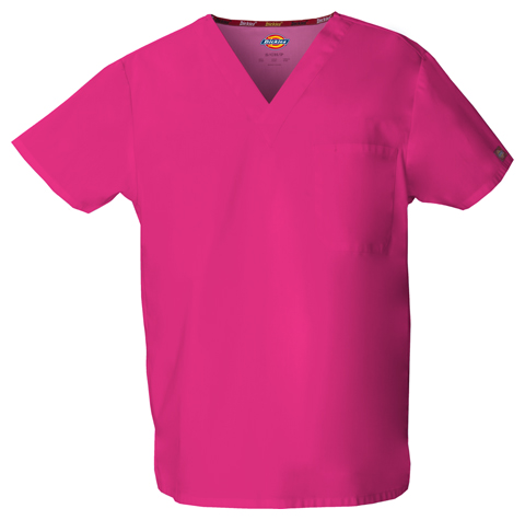 Dickies EDS Signature Unisex V-Neck Top in Hot Pink