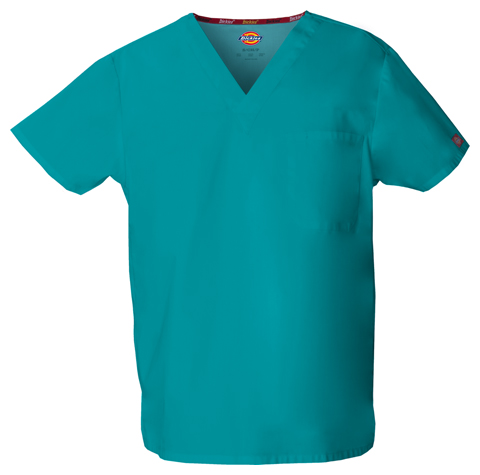 Dickies EDS Signature Unisex V-Neck Top in Teal Blue