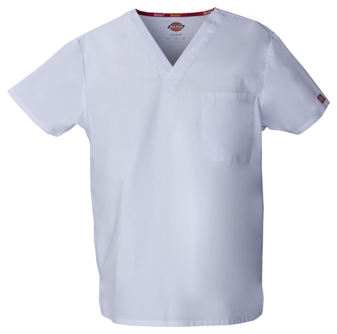 Dickies EDS Signature Unisex V-Neck Top in White