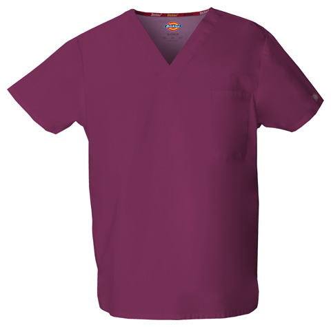 Dickies EDS Signature Unisex V-Neck Top in Wine