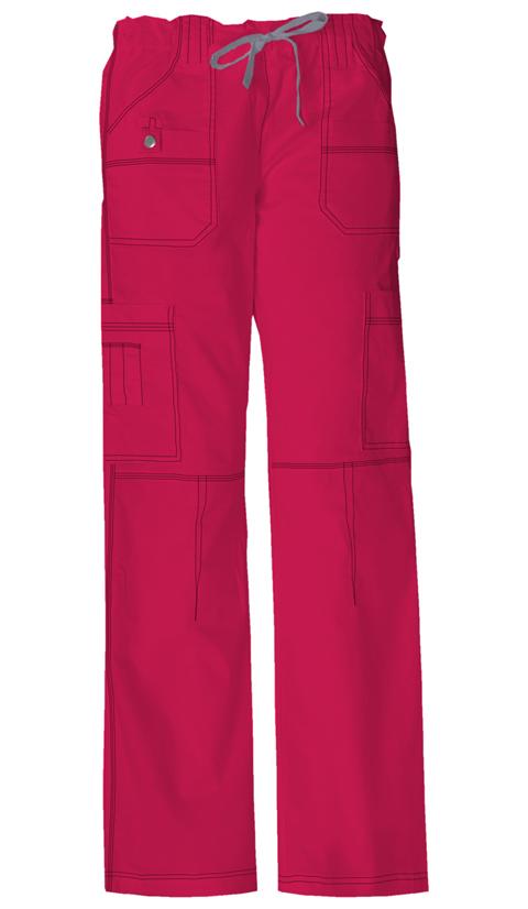 Gen Flex Women's Low Rise Drawstring Cargo Pant Red