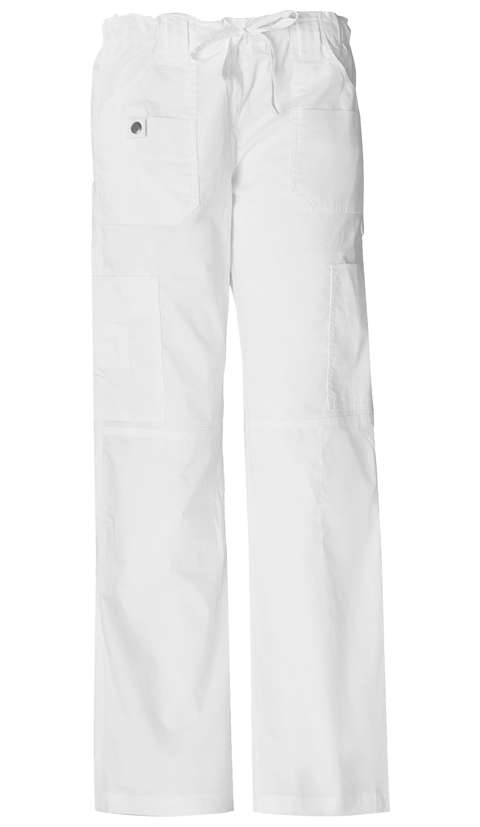 Gen Flex Women's Low Rise Drawstring Cargo Pant White