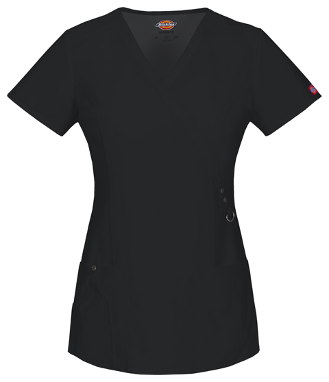 Dickies Xtreme Stretch Mock Wrap Top in Black