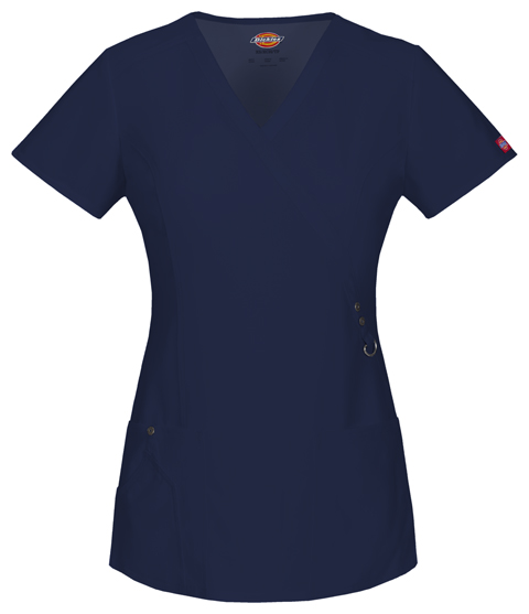 Dickies Xtreme Stretch Mock Wrap Top in D-Navy