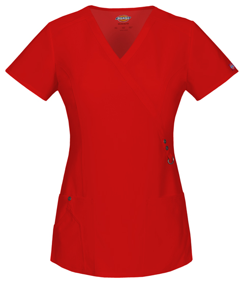 Dickies Xtreme Stretch Mock Wrap Top in Red