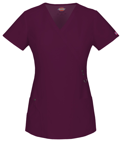 Dickies Xtreme Stretch Mock Wrap Top in D-Wine