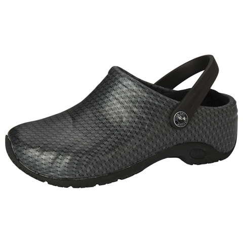 Anywear Medical Footwear Unisex Anywear Injected Clog w/Backstrap Black Silver Pattern