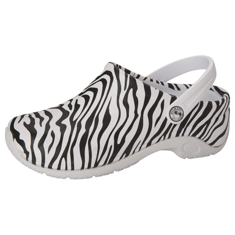 Anywear Medical Footwear Unisex Anywear Injected Clog w/Backstrap Zebra Print